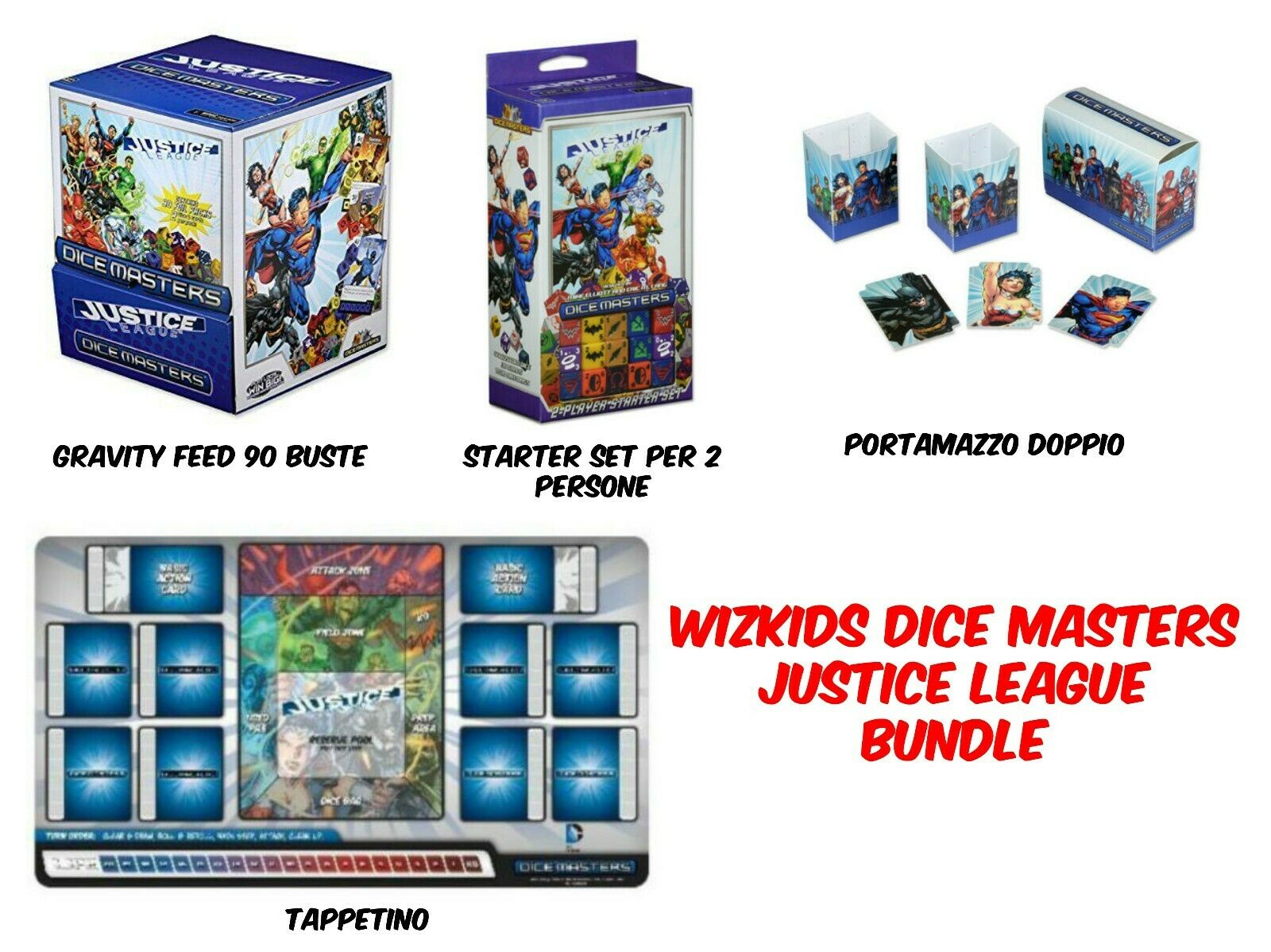 Wizbambini Dice Masters  Justice League estrellater set gravity feed playmat portamazzo  bellissimo