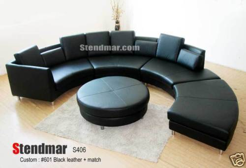 5pc Modern Round Sectional Leather Sofa S406w