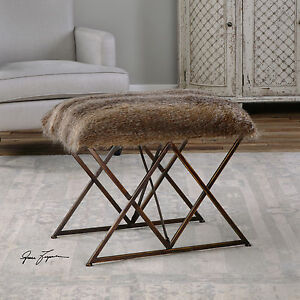 Pleasant Details About Farmhouse Aged Metal Faux Fur Cushioned Seat Footstool Vanity Stool Uttermost Cjindustries Chair Design For Home Cjindustriesco