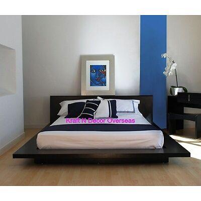 Comtempory Japenese Platform Style Double Bed of Shesham Wood in Black Colour