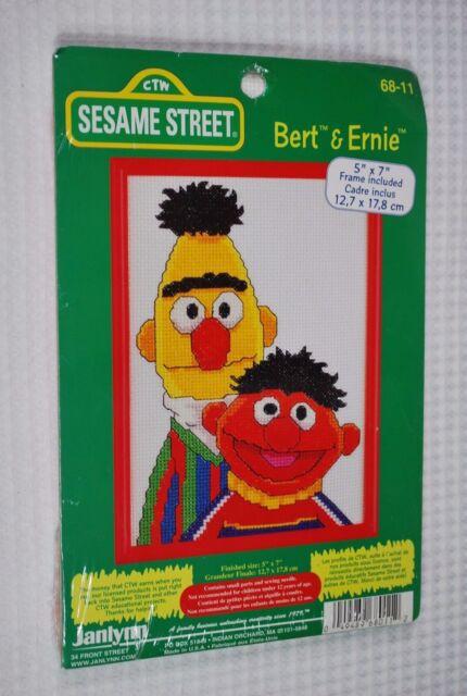 JANLYNN 68-11 BERT & ERNIE Counted Cross Stitch Kit  Vintage  5x7  NEW    M867