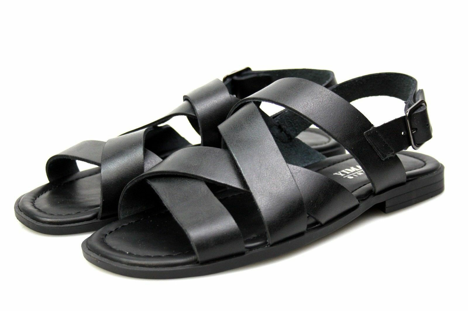 Mens Black Leather Lined Sandals Gladiator Multi Strap Summer Holiday