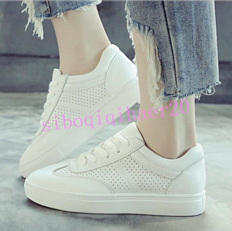 Korean Womens Running Athletic Skate Shoes Round Toe Breathable Lace Up Sneakers