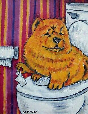 chow chow dog  art print bathroom wall art animals 11x14 impressionism new