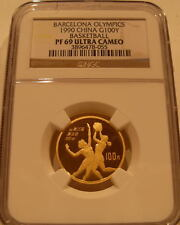 China 1990 Gold 100 Yuan NGC PF-69UC Barcelona Olympics - Basketball