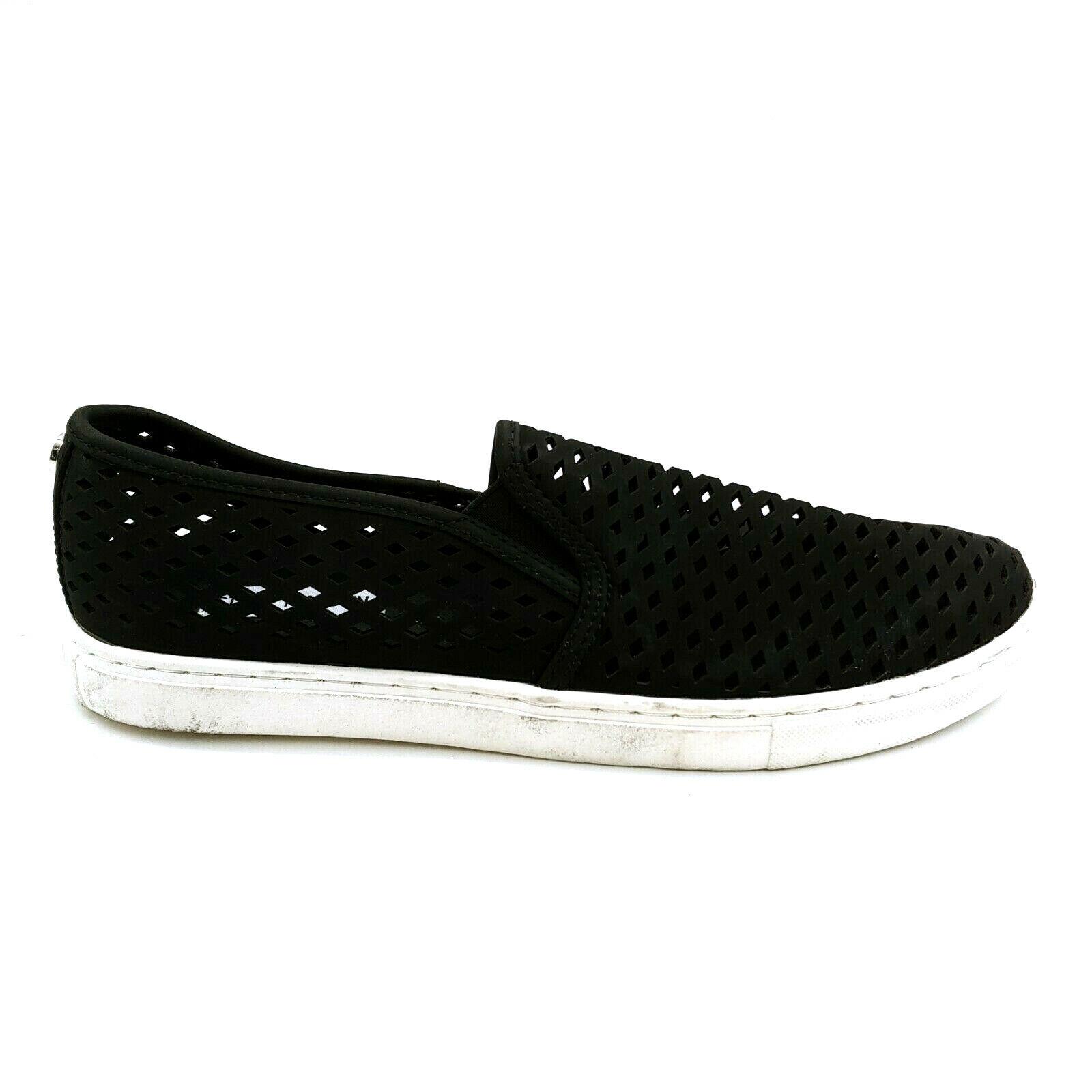 Steve Madden Womans Zeena Slip On Loafer Style Sneaker Black Perforated Sz 12 M