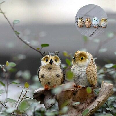 Figurine Decorative Cute Pots Owl Miniature Craft Ornament 4 Pcs Resin Garden Ebay