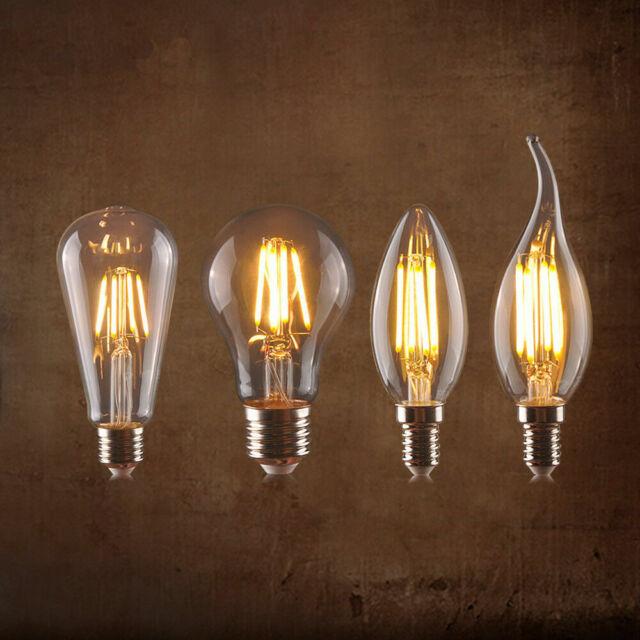 E27 E14 Ampoule Filament Carbone Vintage Edison LED Bougie lampe Globe Ampoules