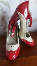 VINTAGE 40s 50s Stile Rosso Crema maryjane Scarpe ALL'INGLESE UK 3 EU 36