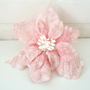 16cm Pink White Frosted Velvet Poinsettia Christmas Tree Decoration Clip Ebay