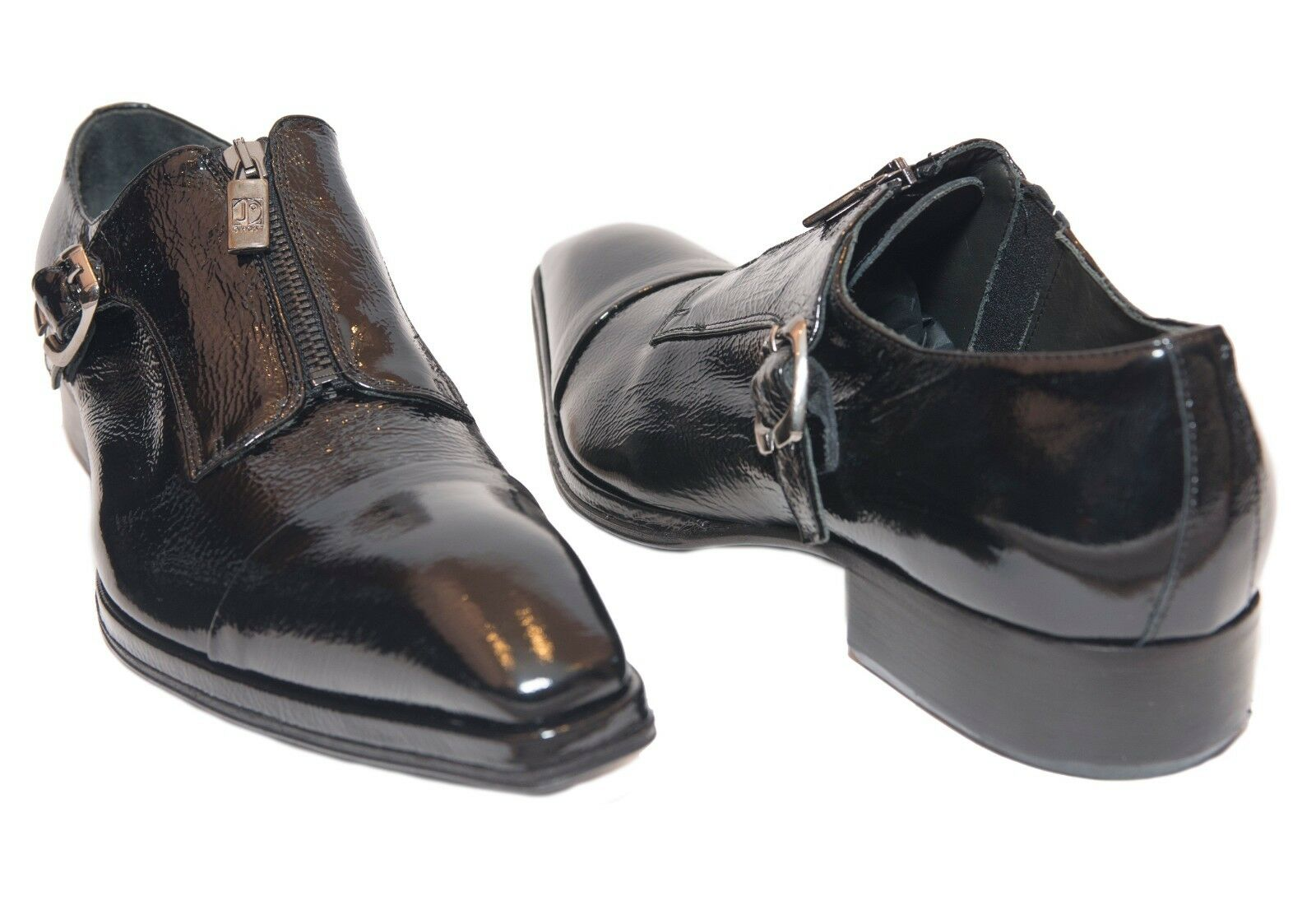 Jo Ghost 1316 Italian Italian Italian mens nero patent leather scarpe with zipper in a front , b e15713