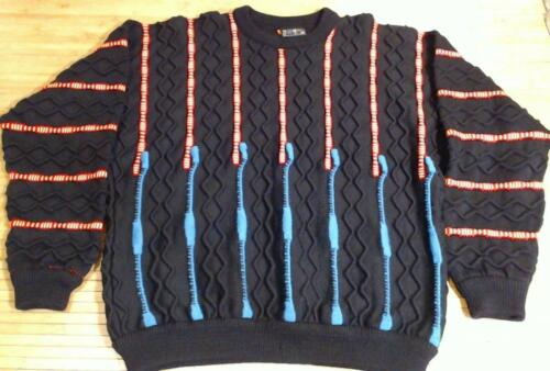 EUC Coogi Black Wool Sweater XL Blue Red Yellow St