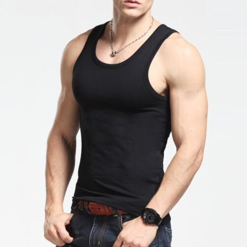 3-6 Packs Mens 100/% Cotton Tank Top A-Shirt Wife Beater Undershirt Ribbed Black