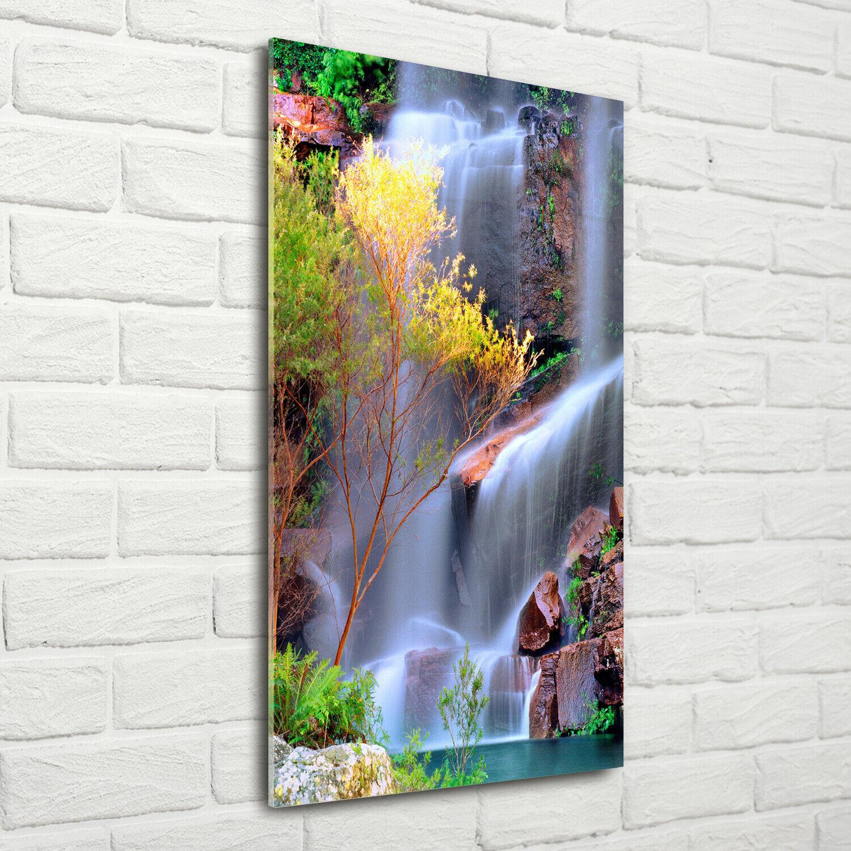 Wandbild Kunst-Druck auf Hart-Glas hochkant 70x140 Wasserfall