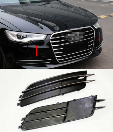 Chrome front Fog Bumper grill Replacement Cover Trim For AUDI A6 C7 2012-2013