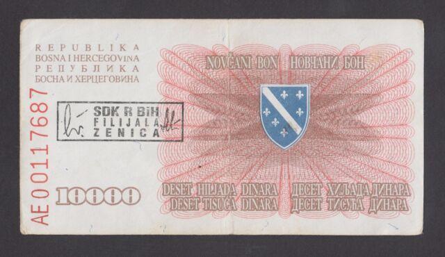 BOSNIA  10000 Dinara 1993 VF  P17b  With overprint SDK-ZENICA w/ dot after sign