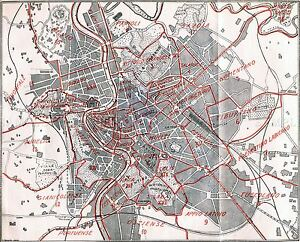 MAP ANTIQUE 1930 ROME CITY PLAN QUARTERS OLD LARGE REPLICA POSTER ...