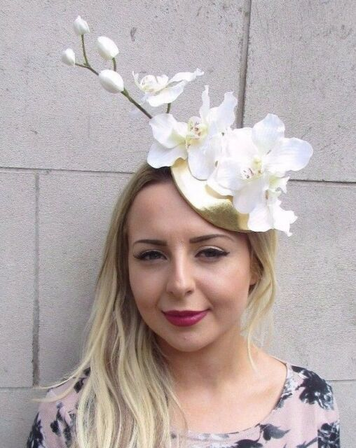 White Cream Gold Orchid Flower Fascinator Hat Pillbox Races Ascot Wedding  3112 8fcb2deed76