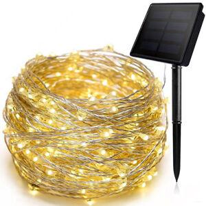 100-200 Led Energía Solar Guirnalda Luces Cuerda Lámparas Fiesta de Navidad Deco