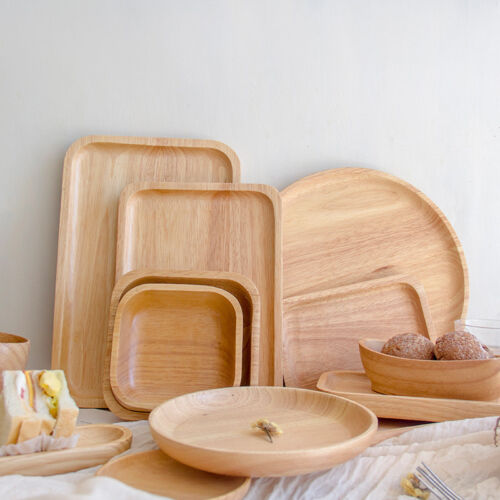 Wood Plate Wooden Tray Dessert Fruit Bread Dishes Trays Dinner Plates Dinnerware