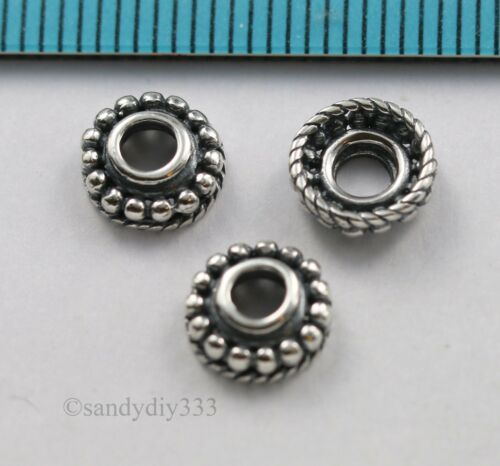 4x  OXIDIZED STERLING SILVER DOT DAISY SPACER BEAD CAP 7.6mm #3034