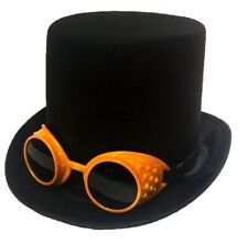 Black Steampunk Topper Top Hat and Goggles Halloween Adult Men Costume Accessory