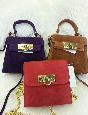 Suede Bag Gold Chain or suede strap Disco Bag New Colours