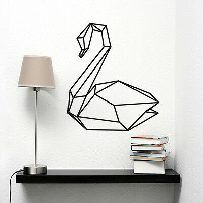 Geometric Swan Wall Decal Removable Bedroom Swan Art Mural Animal Wall Sticker