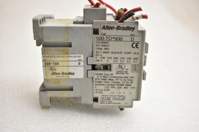 Allen Bradley 25a Contactor 600 VAC Ser D 500-to*930