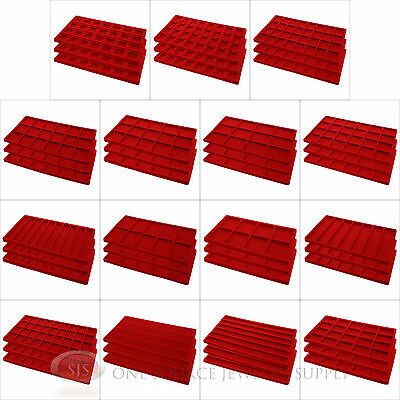 (3) Red Compartment Flocked Display Inserts For Jewelry Cases and Trays