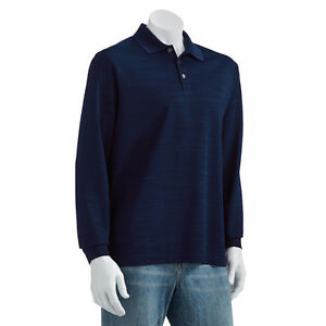 New-Haggar-Men-s-Striped-Easy-Care-Long-Sleeve-Polo-Blue-Size-X-Large-MSRP-46