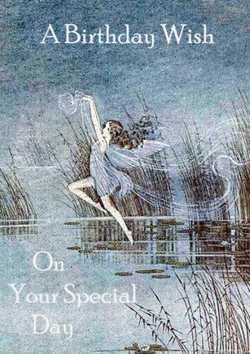 HAPPY BIRTHDAY GREETINGS CARD BEAUTIFUL FAIRY ANGEL GIRL DANCING OVER WATER