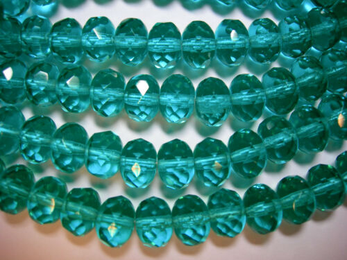25 Sparkling Teal Czech Glass Rondelle Beads 8x6mm