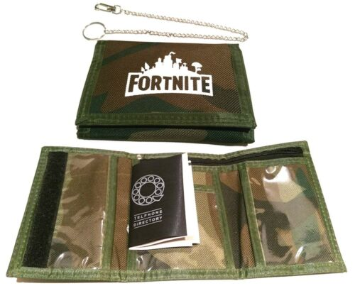 Camo WALLET bag Purse Boys Girls with SECURITY CHAIN PHONE DIRECTORY UK