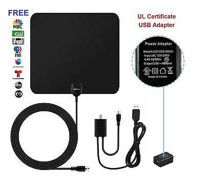 10FT Detachable Cable HDTV Antenna Digital Indoor 50 Mile Range Ultra Slim