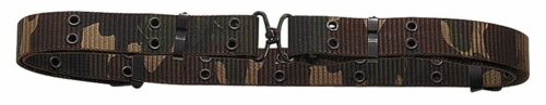 1.25 X 50 OD, Black or Woodland Camo Military Mini Pistol Belt w//Metal Buckle
