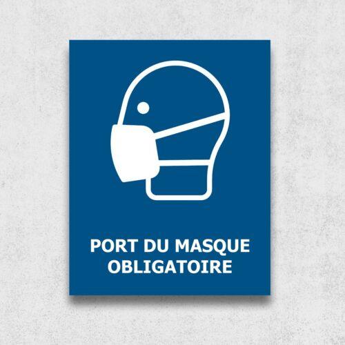 Poster en métal 15x20 cm Signalétique de sécurité Port du masque obligatoire