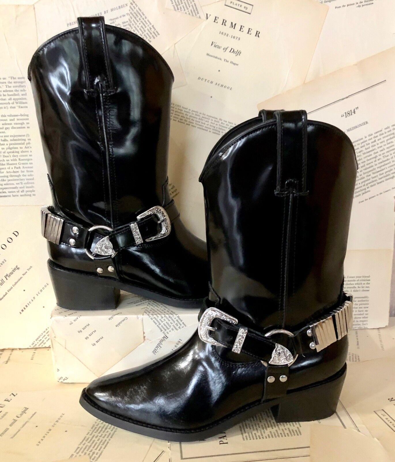Nuevo En Caja herojoera de Brillante Negro Cuero Hebilla de acento botas de herojoera vaquero occidental de Plata 36 6 b11822