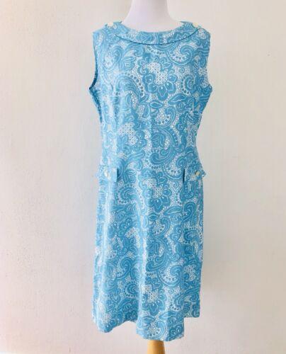 VTG 60s Dress Mod Sheath Tiffany Blue and White Pa