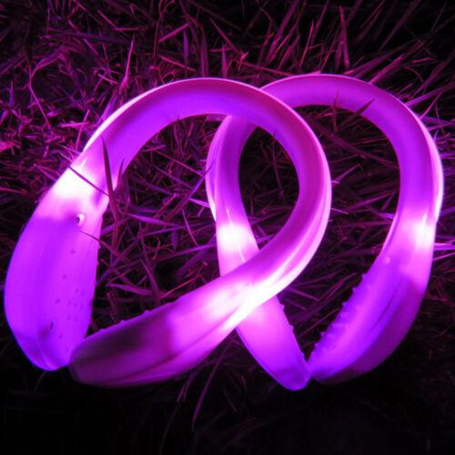 1 Pair LED Luminous Shoe Light Up Safety Heel Clip Running Night Trainers Walk