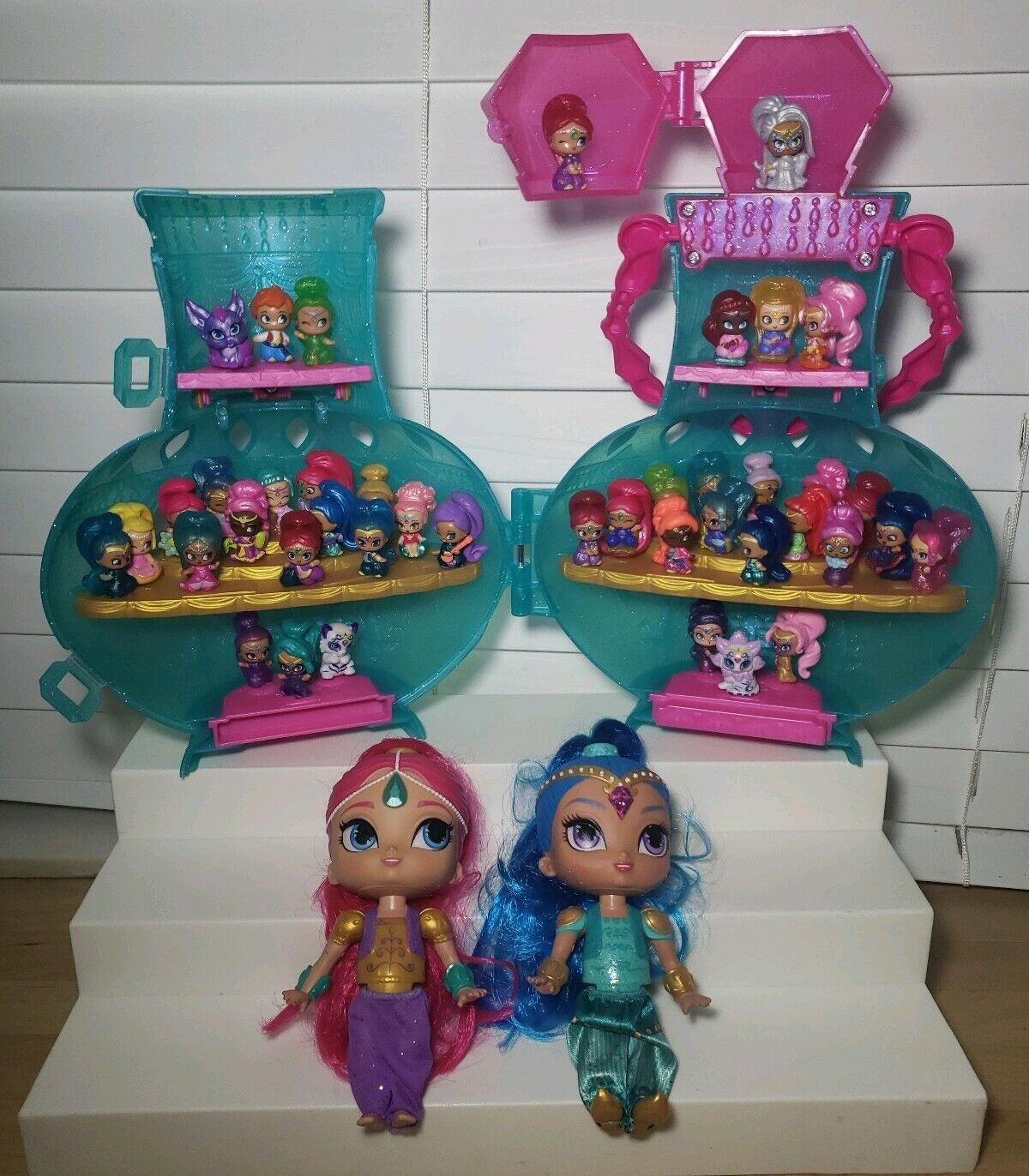 LOT Of Shimmer & Shine Teenie Genies Case Case w  42 Mini Figures + Two 6  Figures