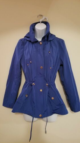 Nwot Pm Club Anorak Blå Hood Petite Collar Med 100 Drawstring Charter Rain wIfXR