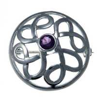 Sterling Silver Celtic Brooch With Purple Stone