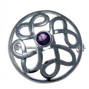 Sterling-Silver-Celtic-Brooch-with-Purple-Stone