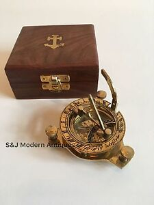 a3dde485c2cd La imagen se está cargando Reloj-De-Sol-Vintage-laton-Nautica-brujula-4-