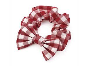 Girls-Red-Gingham-Check-Bow-Summer-School-Hair-Scrunchie-Elastic-Bobble