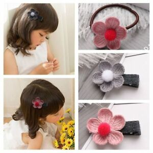 Princess-Hair-Clip-Baby-Flower-Hairband-Knitted-Hairpin-Pompon-Headband