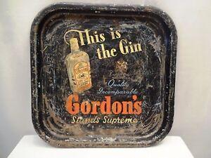 Vintage-Gordon-039-S-Dry-Gin-Advertising-Tin-Tray-Serving-London-Good-Cocktail-Rare-034