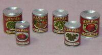 Dollhouse Miniature Vegetable Canned Food Set 6 Vintage Fern Park 1:12 Scale