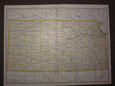 1890 LARGE MAP ~ KANSAS STATE COUNTY RAILROAD ~ EXCELLENT CONDITION on map of all georgia cities, map of colorado and nebraska borders, map of indiana area, map tilden nebraska, map of montana, map of eastern wyoming,